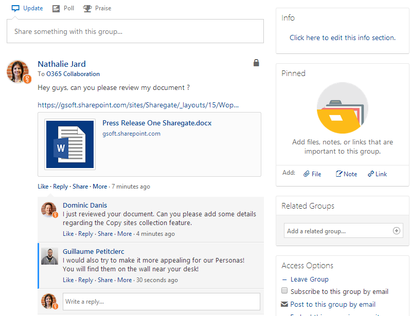 Post an Office hyperlink in Yammer