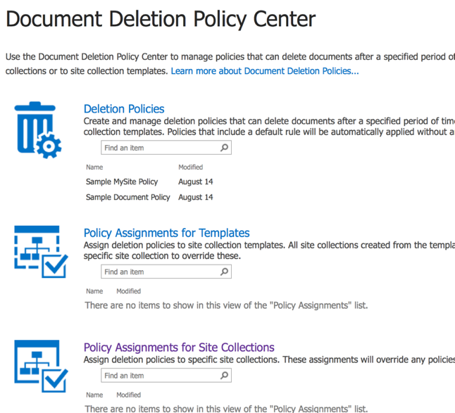 New SharePoint 2016 Compliance Center