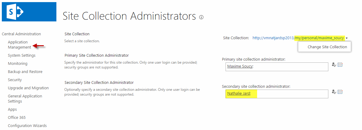 Change site collection admin in OneDrive for Business