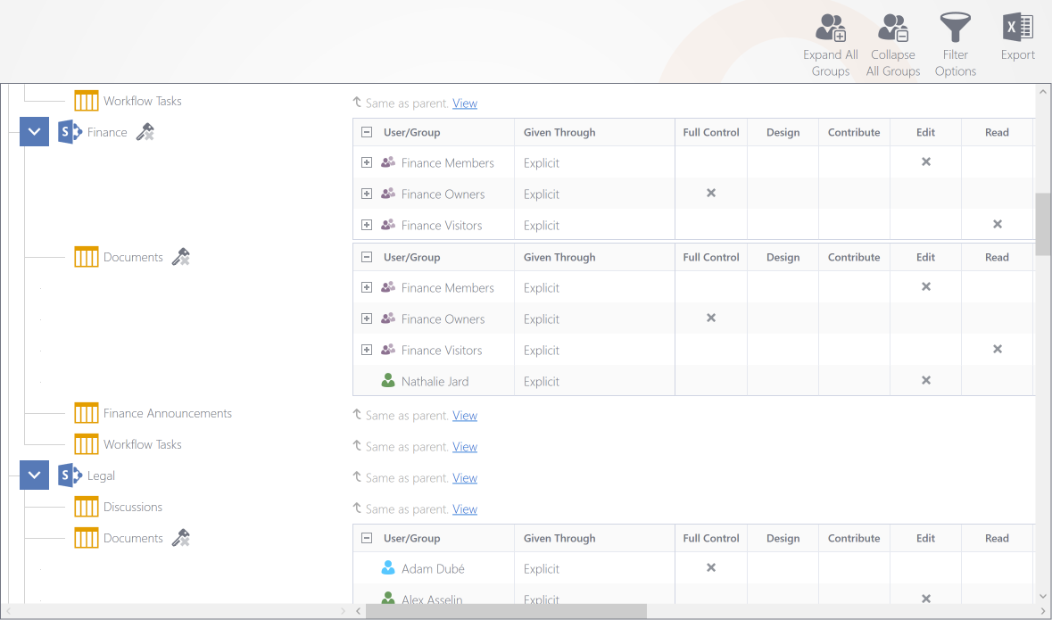 Show Specific SharePoint Users & Groups Permissions