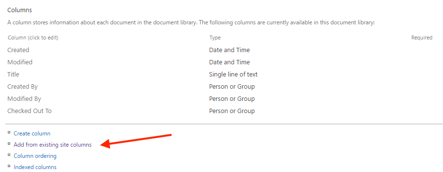 Use SharePoint Site Column settings