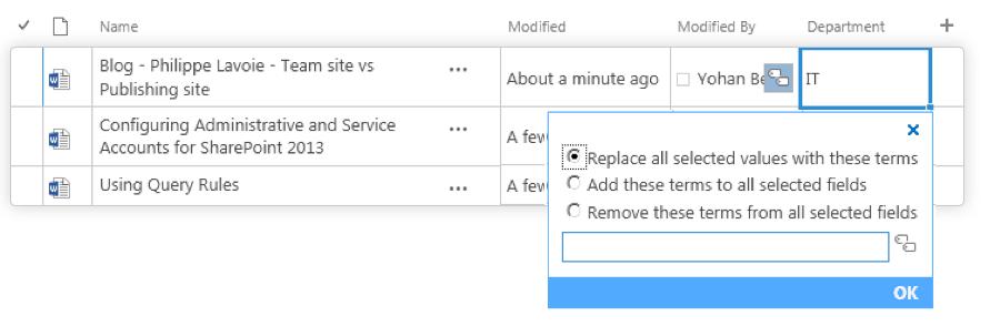 Metadata Picker in Datasheet view