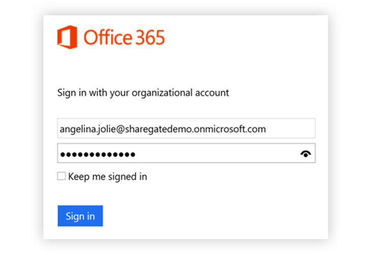 Office 365 Sign In with your organizational account