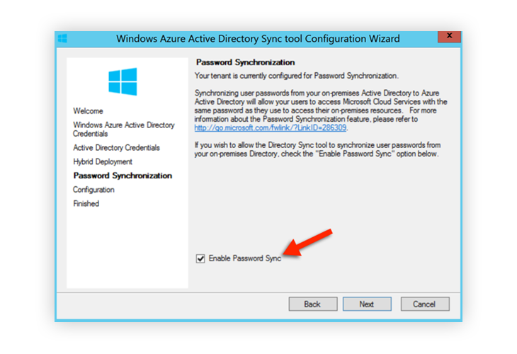 Window Azure Active Directory Sync Enable Password