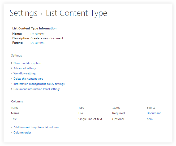 Settings List Content Types in SharePoint