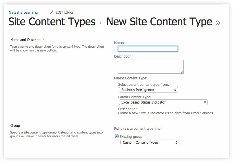 Create Content Type in SharePoint