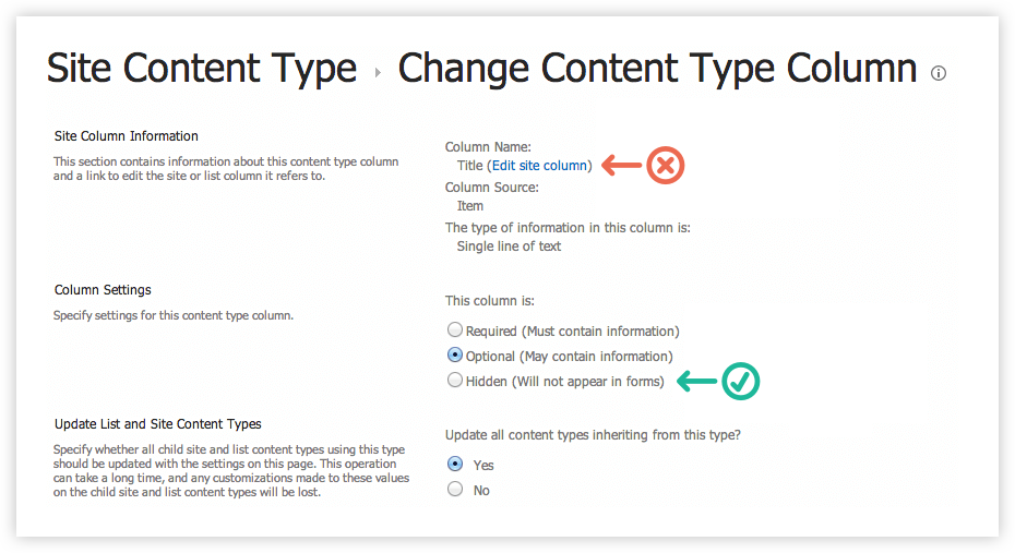 Edititing a Content Type in SharePoint