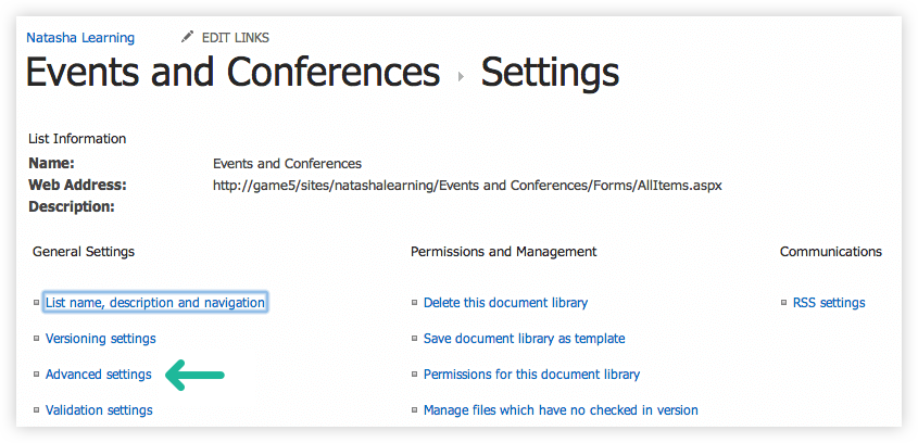 Advanced Settings in SharePoint 2013