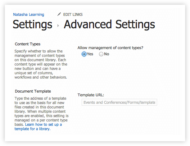 Advanced Settings in SharePoint
