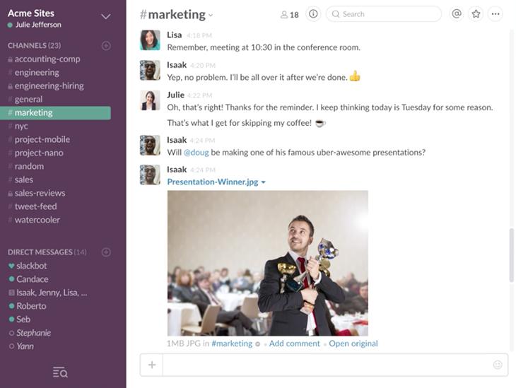 Slack's user-friendly interface