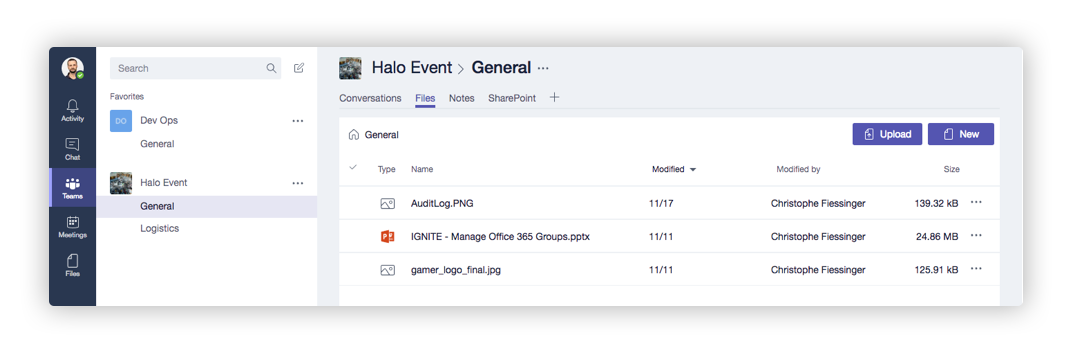 Microsoft Teams Navigation Tab in Office 365 Groups