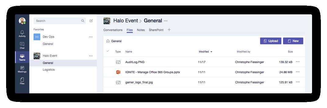 Microsoft Teams Navigation Tab in Office 365 Groups