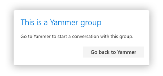 Yammer Group Popup Box