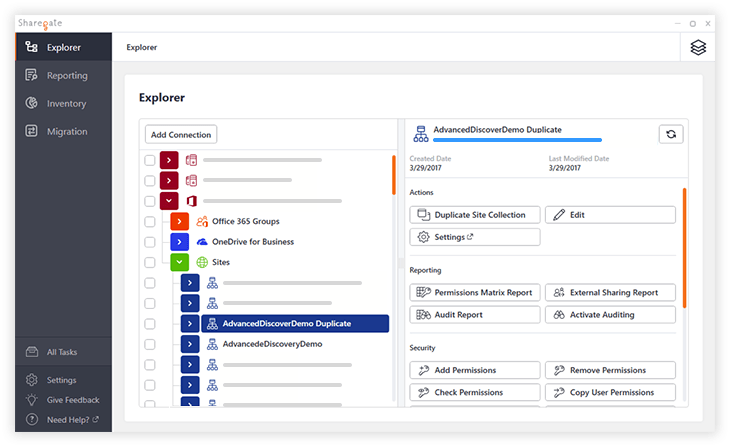 New duplicated site collection in Sharegate explorer