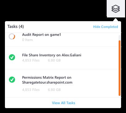 Sharegate task widget in progress
