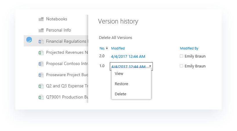 Version history in OneDrive for Business
