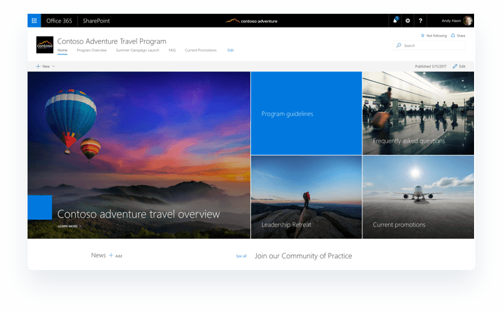 Office 365 SharePoint Communication site design template