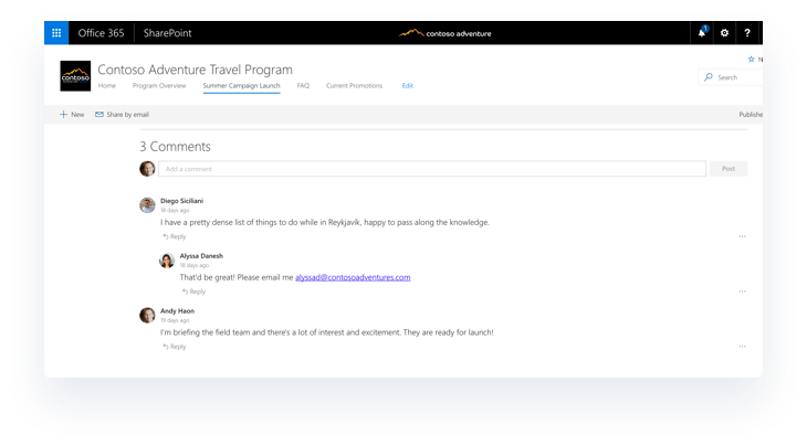 SharePoint Communication Sites with Built-in comments