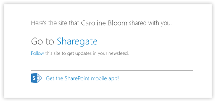 External sharing of SharePoint Site Invitation email