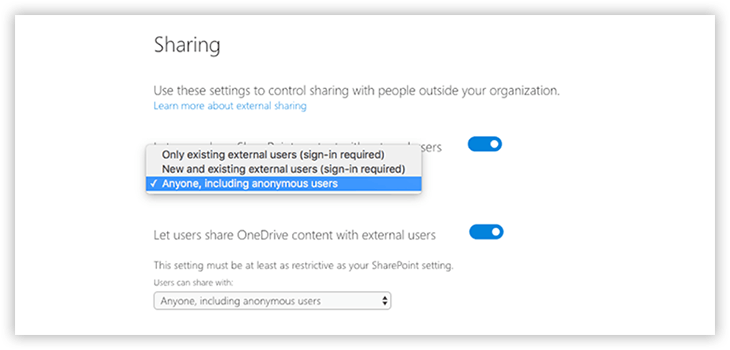 External Sharing Settings in OneDrive Admin Center