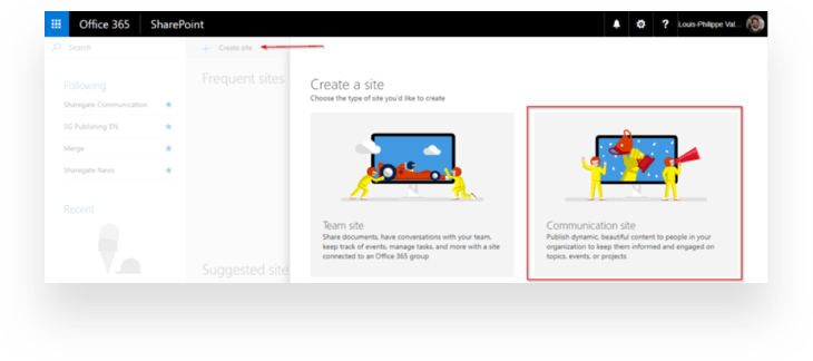 Creating a Communication site in SharePoint Online
