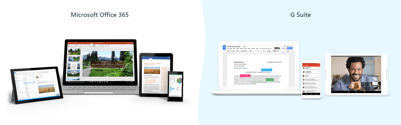 microsoft Office 365 vs Google G Suite
