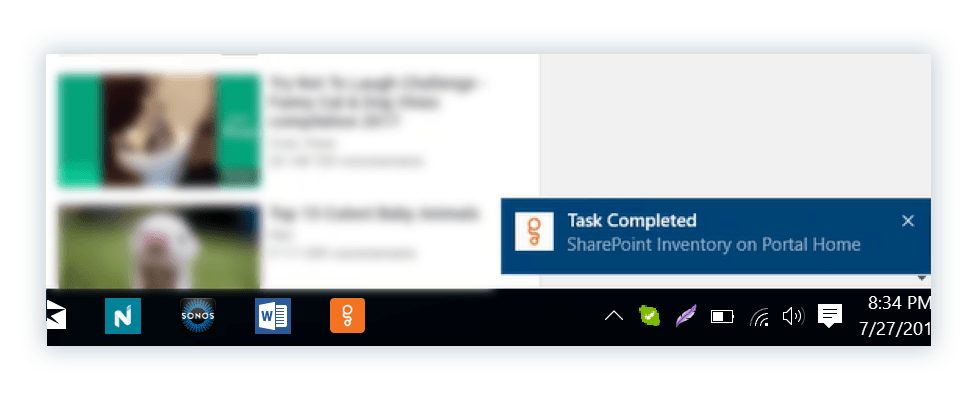 Sharegate notifications on the Windows taskbar