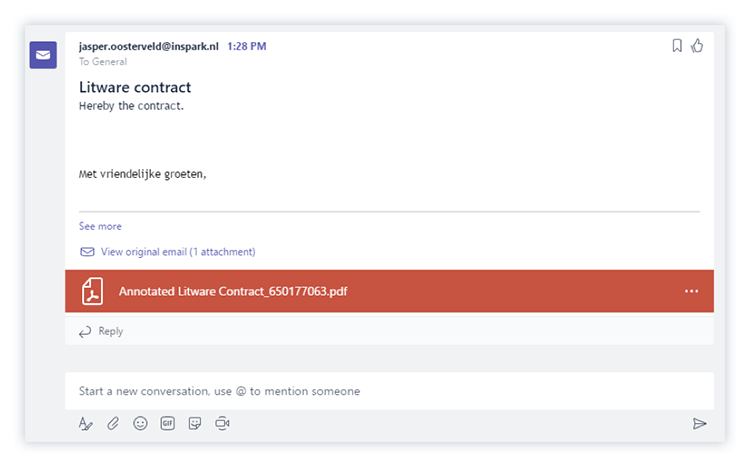 Adding documents to a Microsoft Teams conversation