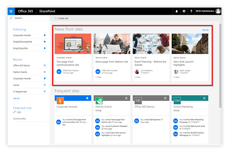 SharePoint Home in Office 365