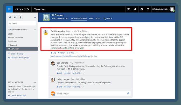 Microsoft yammer announcement