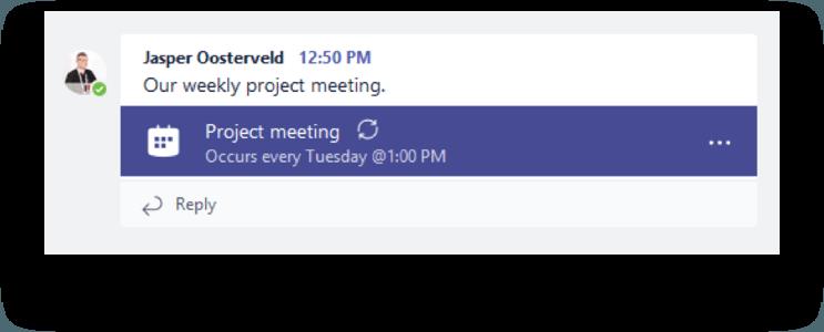 Meeting appears in Teams channel