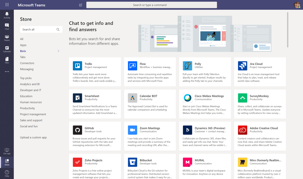 Click on More apps for an overview of available bots