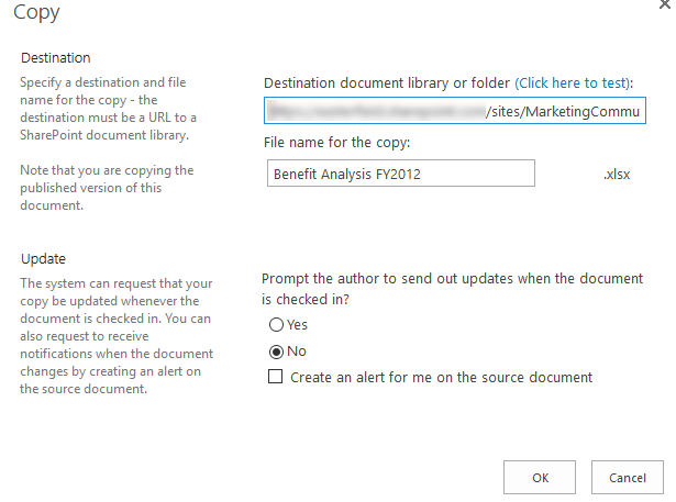 Copy a document in Microsoft Sharepoint