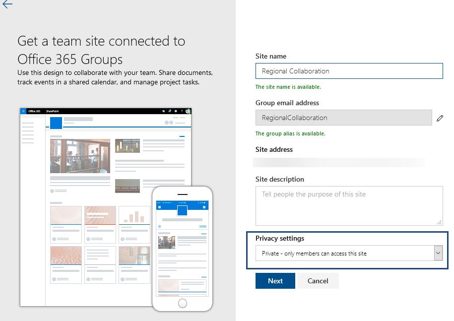 Creating a team site