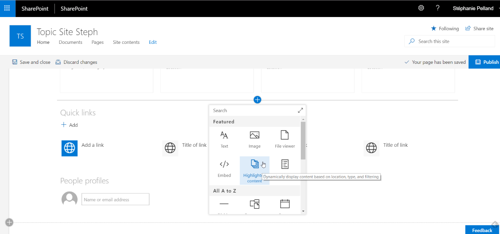 Topic site in SharePoint Server 2019