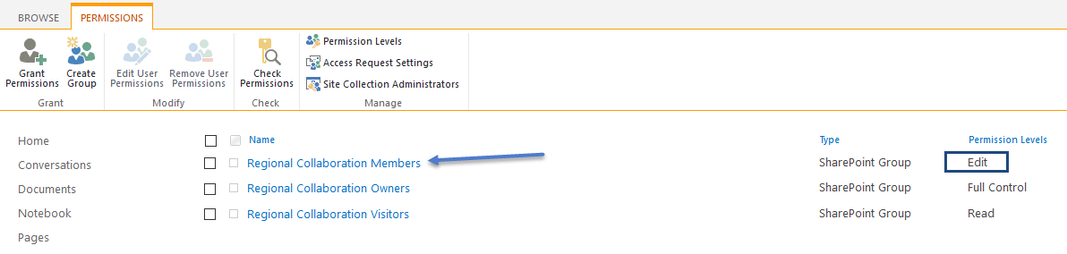 Changing group permissions