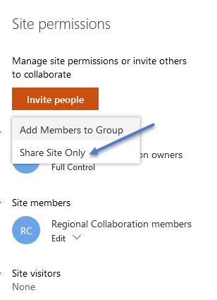Add members to group - share site only