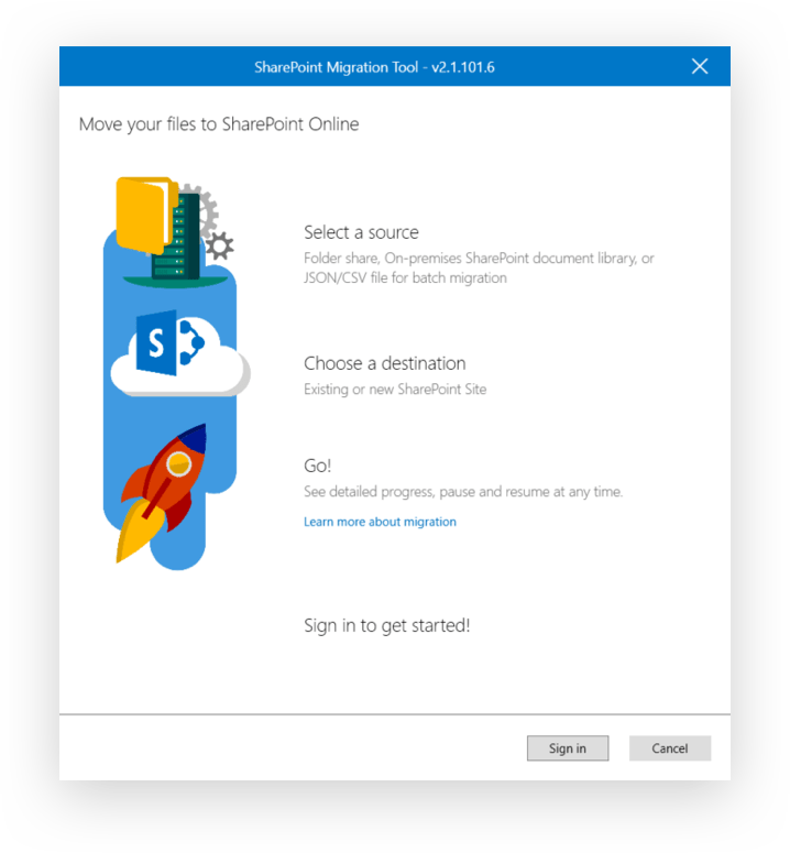 SharePoint Migration Tool initial screen
