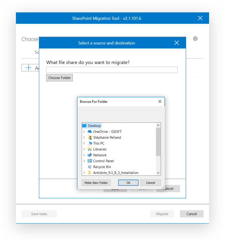 Microsoft SPMT select source