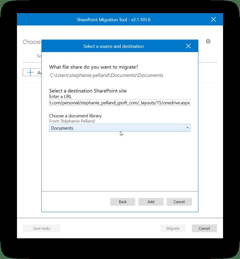 Microsoft SPMT set destination