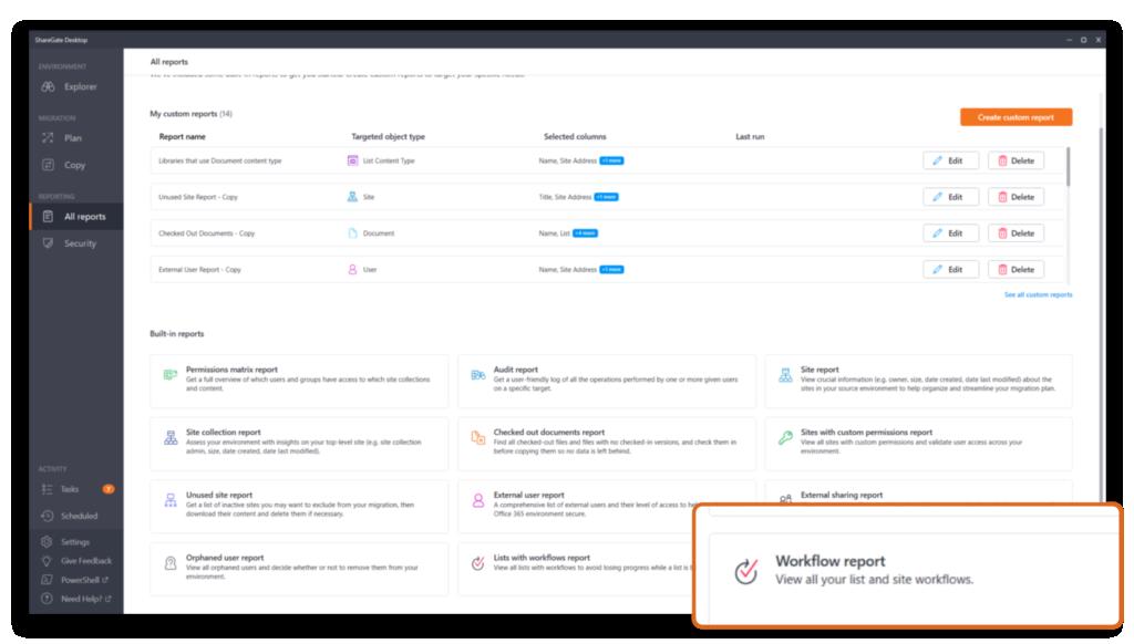 Workflow report in ShareGate Desktop