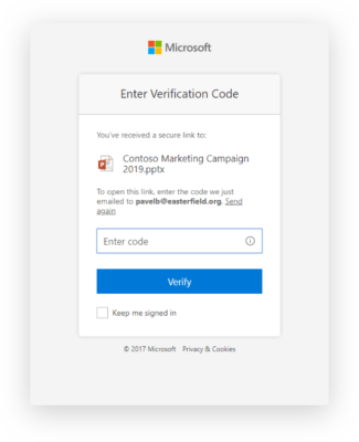2-factor authentification for shared OneDrive content