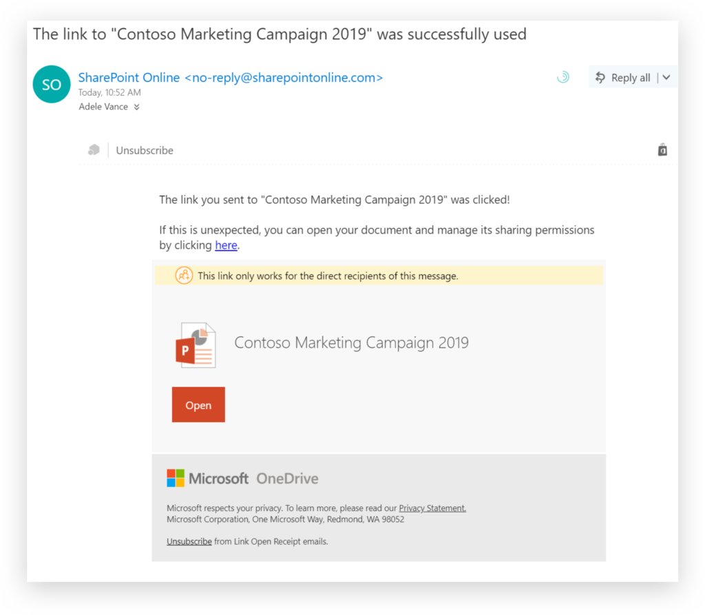 OneDrive file shared email notification