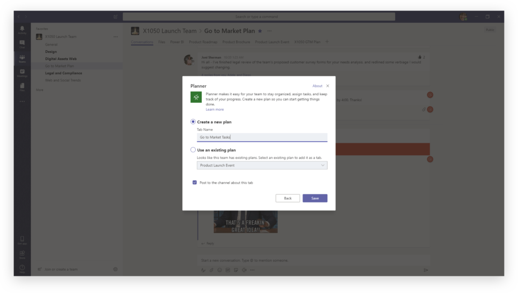 Creating a new Planner tab in Microsoft Teams