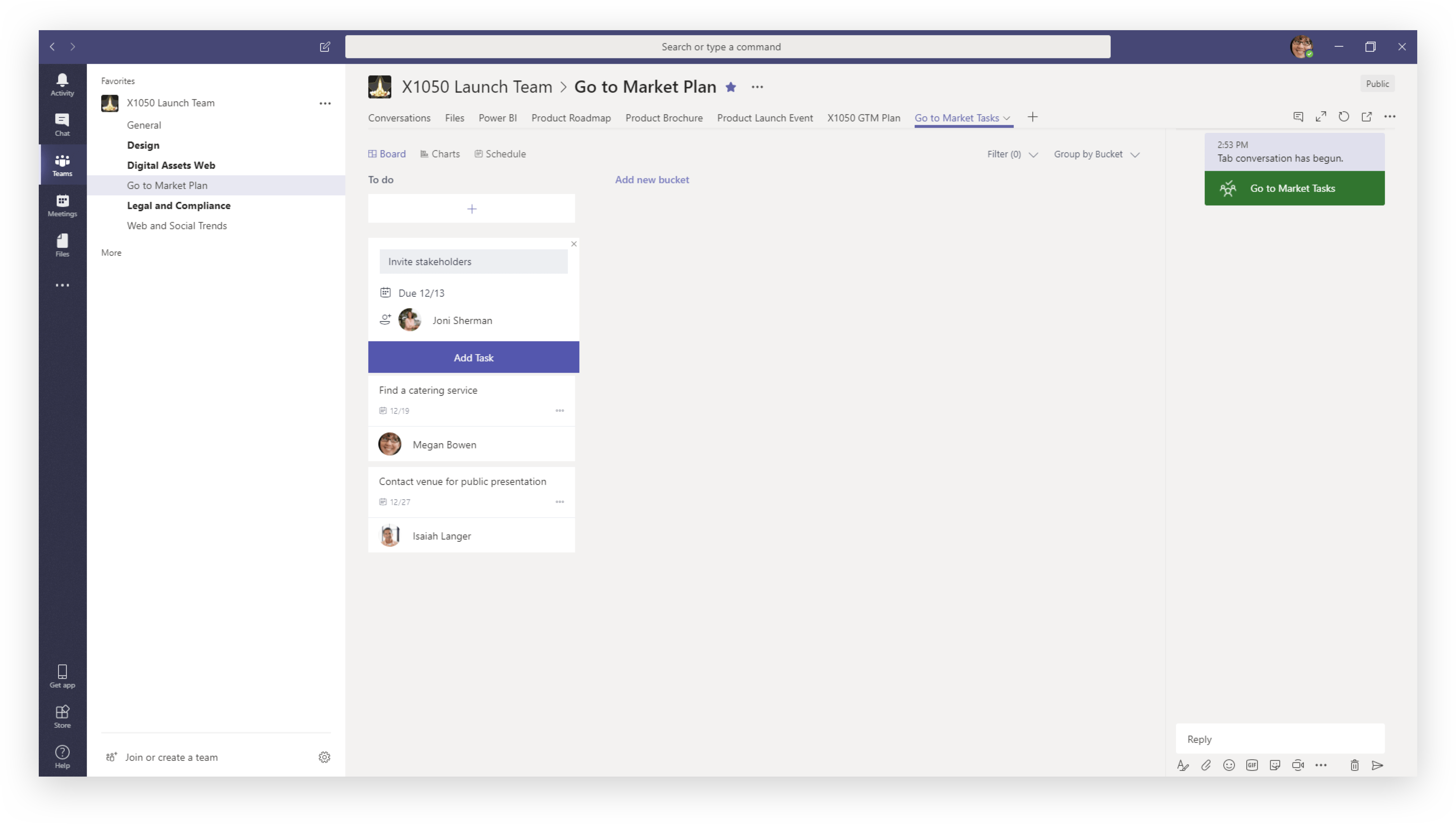 Assigning tasks with Planner in Teams