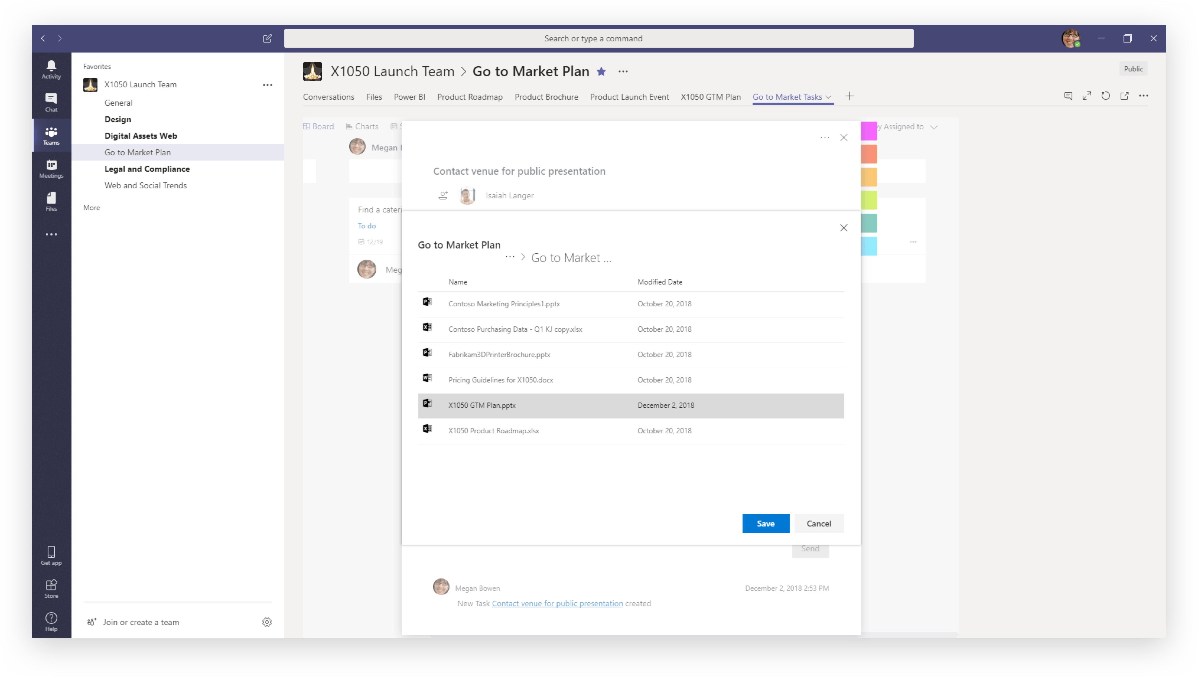 Attaching content to a Planner task in Teams
