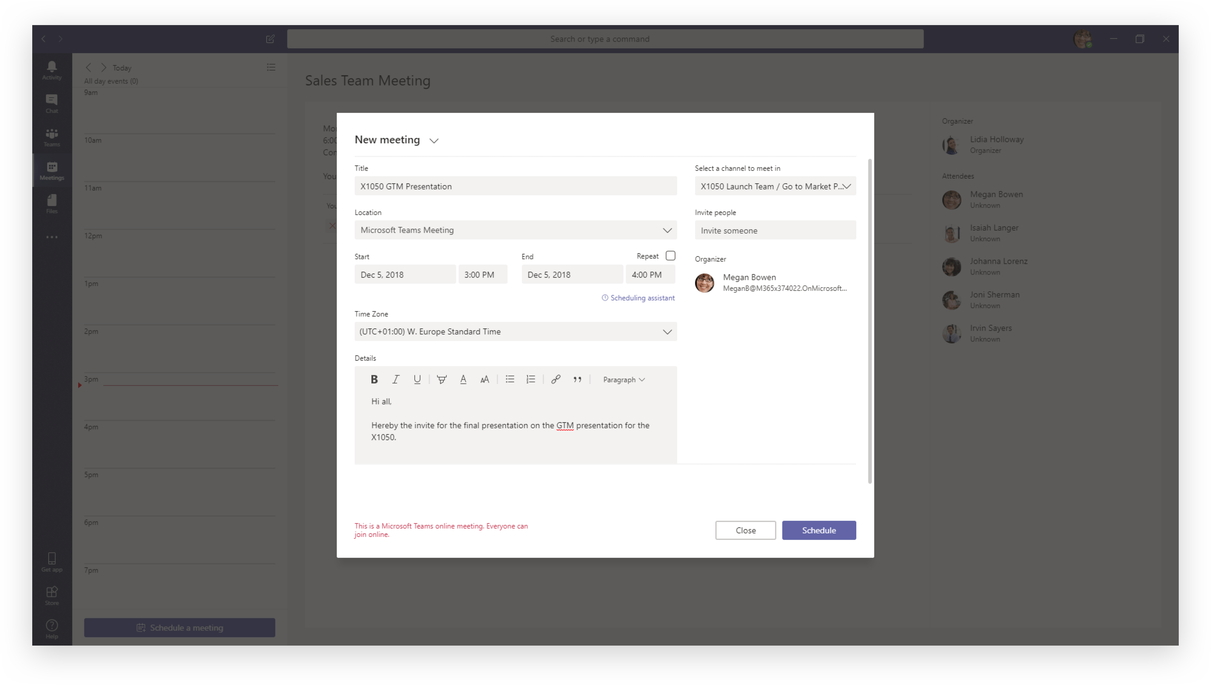 Setting up a meeting in Microsoft Teams
