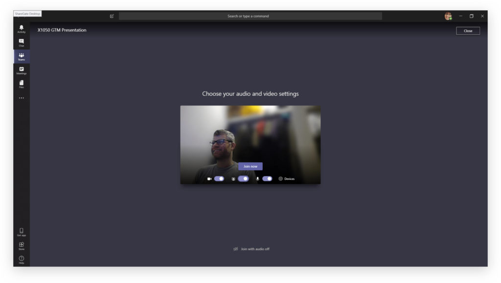Video chat in Teams