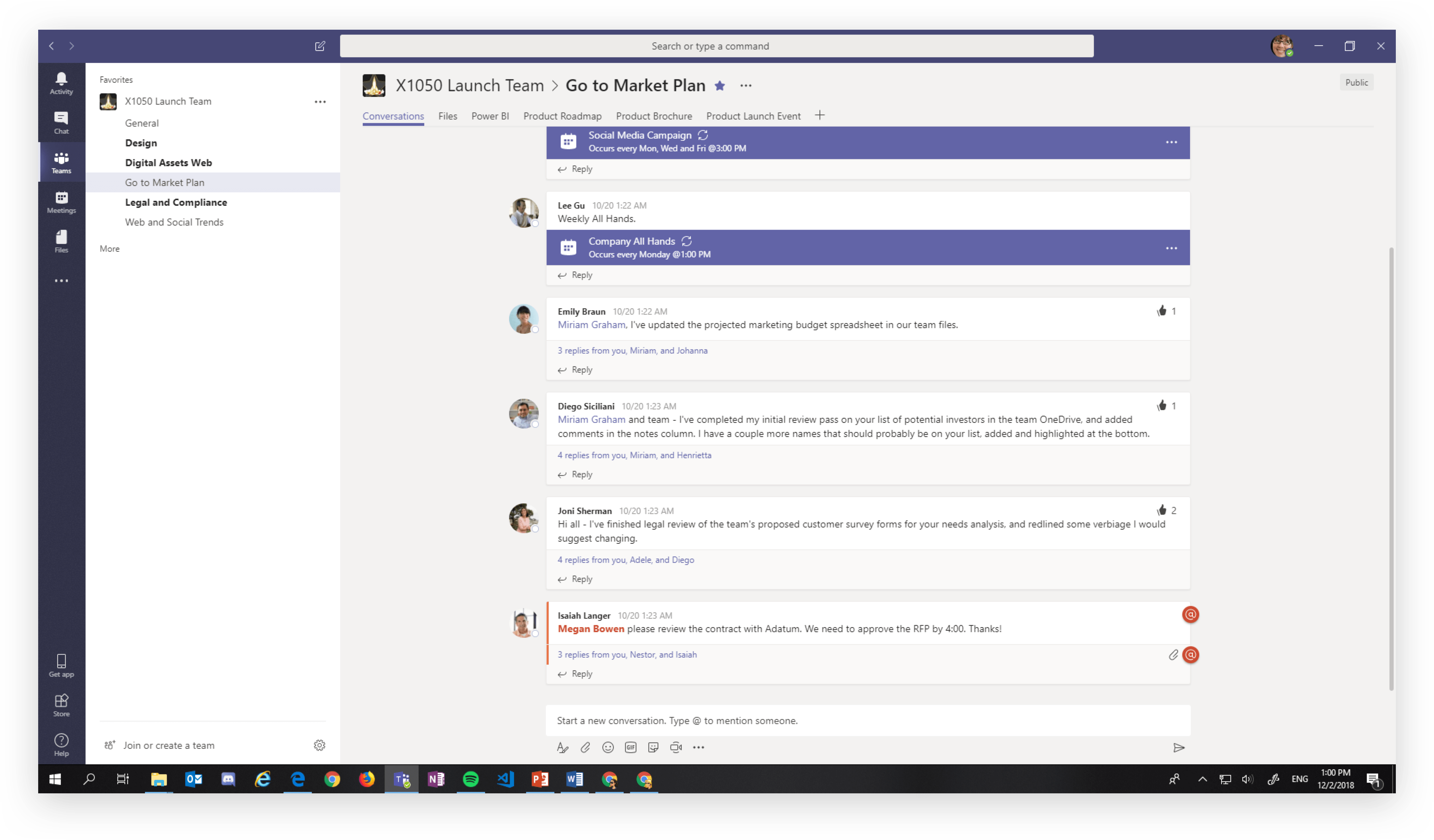 Channel view in Microsoft Teams