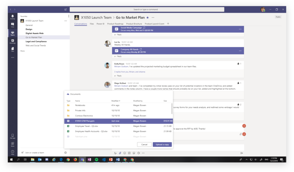Sharing a file in Microsoft Teams by uploading a copy
